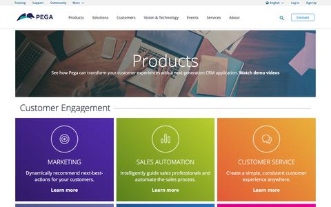 Screenshot of Products Page pega.com - Next Generation CRM Products & Applications | Pega - captured Sept. 9, 2017