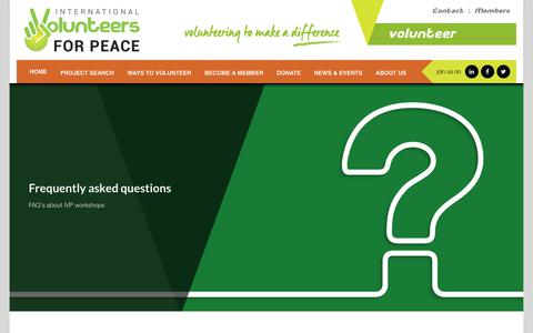 Screenshot of FAQ Page ivp.org.au - Frequently Asked Questions - International Volunteers for PeaceInternational Volunteers for Peace - captured Oct. 12, 2018