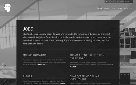 Screenshot of Jobs Page blur.com - Jobs  |  BLUR - captured Jan. 15, 2016