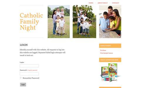 Screenshot of Login Page catholicfamilynight.com - Catholic Family Night - Login - captured Sept. 29, 2014