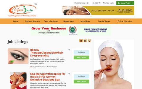Screenshot of Jobs Page spasindia.com - Spa | Salon | Med Spa | Cosmetic Clinics | Wellness & Fitness in India Job Listings - Find Spas India The Leading Spa | Salon | Med Spa | Cosmetic Clinics | Wellness & Fitness Business Directory Job Listings - captured Oct. 23, 2017