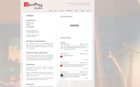 Screenshot of Contact Page gainplaystudio.com - Contact GainPlay Studio - captured Oct. 29, 2014