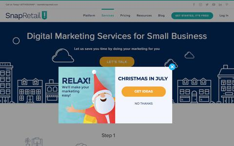 Screenshot of Services Page snapretail.com - Managed Marketing Services for Small Business | SnapRetail - captured July 13, 2018