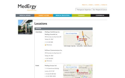Screenshot of Locations Page medergygroup.com - Locations | MedErgy HealthGroup Medical education and communications agency - captured Oct. 4, 2014