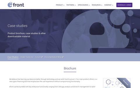 Screenshot of Case Studies Page efrontlearning.net - Brochures & Case studies & Presentations - Learning Management System Software - eFront LMS - captured Sept. 19, 2014
