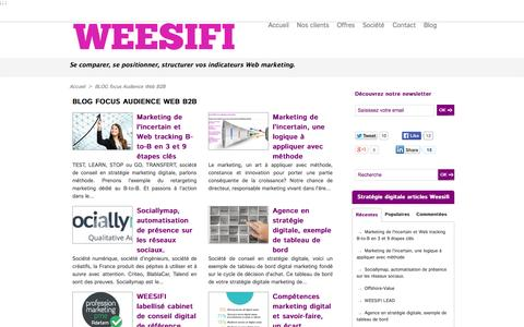 Screenshot of Blog weesifi.com - blog statistiques internet de mesure d'audience de sites web marketing B2B | Weesifi société de conseil en stratégie digitale et webmarketing B to B, BtoBtoC, B to C - captured Oct. 7, 2014