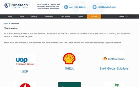 Screenshot of Testimonials Page tubetech.com - Testimonials - Heat Exchanger Cleaning Specialists - captured Feb. 16, 2016