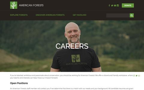 Screenshot of Jobs Page americanforests.org - Careers - American Forests - captured May 30, 2017