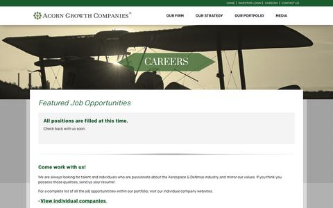 Screenshot of Jobs Page acorngrowthcompanies.com - Careers | Acorn Growth Companies - captured Nov. 6, 2018