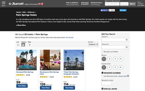 Find Palm Springs Hotels by Marriott