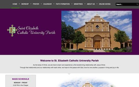 Screenshot of Home Page stelizabethlubbock.com - St. Elizabeth Catholic University Parish - St Elizabeth's Catholic Church - captured Oct. 9, 2015