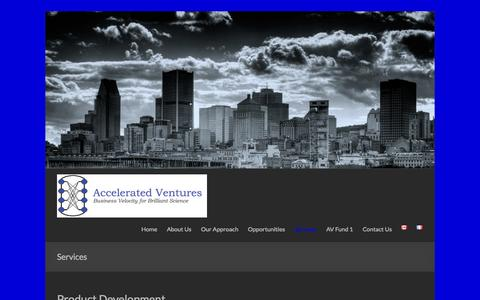 Screenshot of Services Page acceleratedventures.com - Services | Accelerated Ventures Inc. - captured Oct. 29, 2014