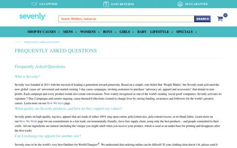 Screenshot of FAQ Page sevenly.org - Frequently Asked Questions – Sevenly - captured Dec. 5, 2018