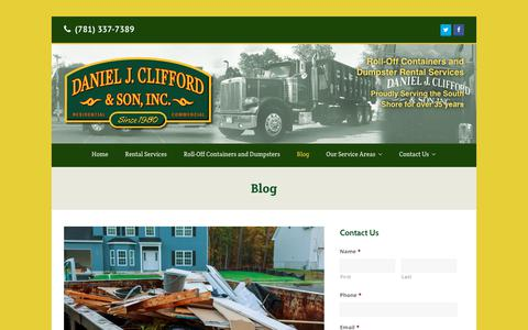 Screenshot of Blog cliffordcontainers.com - Our Weymouth, MA Dumpster Blog | Daniel J. Clifford & Son Dumpster Service - captured Nov. 2, 2018