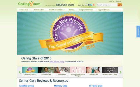 Screenshot of Home Page caring.com - Senior Care: Housing, Home Care, Community, Articles - captured Jan. 14, 2015