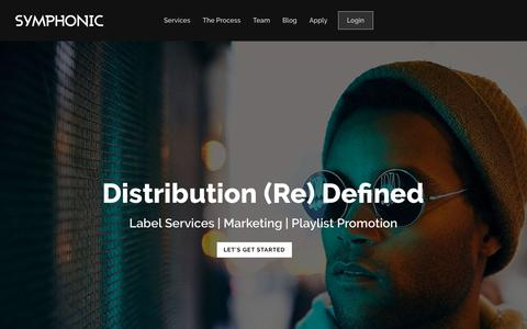 Screenshot of Home Page symphonicdistribution.com - Digital Music Distribution | Distribution (Re) Defined | Symphonic Distribution - captured Sept. 23, 2018