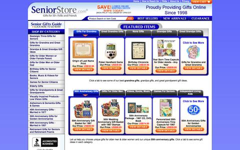 Screenshot of Home Page seniorstore.com - Unique Gifts For Seniors & 50th Anniversary Ideas | Seniorstore.com - captured Oct. 26, 2017