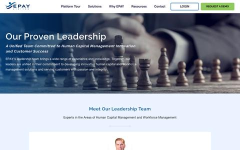 Screenshot of Team Page epaysystems.com - EPAY Systems HCM & Workforce Management Leadership Team - captured Oct. 10, 2019