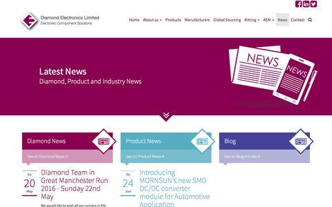 Screenshot of Press Page diamondelec.co.uk - Diamond Electronics Ltd   Latest Company and Product News - captured Nov. 24, 2016