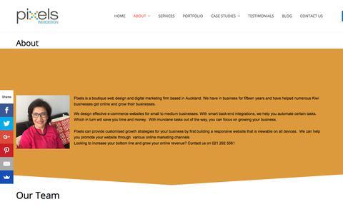 Screenshot of About Page pixels.net.nz - Small Business E Commerce Solutions Pixels Webdesign - captured Jan. 31, 2018