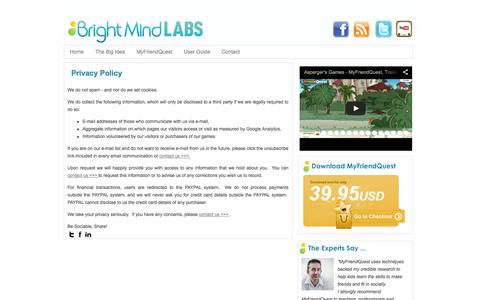 Screenshot of Privacy Page brightmindlabs.com - Privacy Policy | BrightMind LABS - captured Sept. 30, 2014