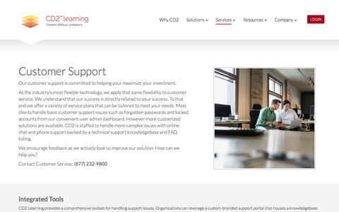 Screenshot of Support Page cd2learning.com - Customer Support - CD2 Learning - captured Oct. 5, 2016