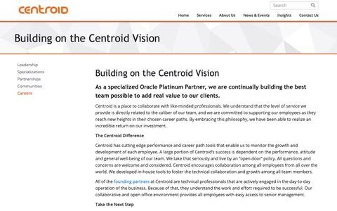 Screenshot of Jobs Page centroid.com - Building on the Centroid Vision | Centroid - captured Sept. 27, 2018