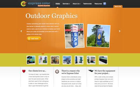 Screenshot of Home Page expresscolor.com - Atlanta Graphic Service Bureau   Banners, POP, Signage, Tradeshow Welcome to Express Color! - Express Color   Express Color - captured Sept. 26, 2014