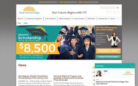 Screenshot of Press Page ftccollege.edu - FTC News | Florida Technical College - captured Oct. 14, 2017