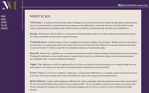 Screenshot of Services Page metworksinc.net - METWORKS INC - captured Oct. 27, 2014