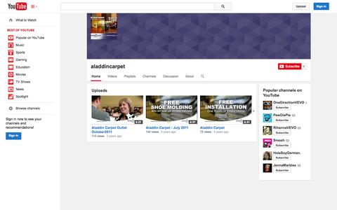 Screenshot of YouTube Page youtube.com - aladdincarpet  - YouTube - captured Oct. 23, 2014