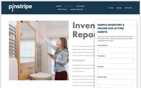Screenshot of Services Page pinstripe.services - Inventory Report — Pinstripe Inventories - captured July 18, 2018