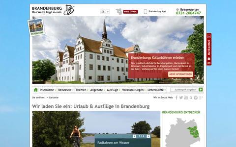 Screenshot of Home Page reiseland-brandenburg.de - Reiseland Brandenburg: Ihr Portal für Urlaub und Ausflüge - captured Sept. 19, 2014
