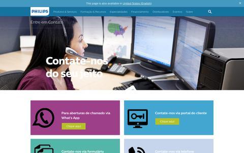 Screenshot of Contact Page philips.com.br - Philips Health Care | Entre em Contato - captured Aug. 23, 2019