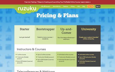 Screenshot of Pricing Page ruzuku.com - Pricing and Features > Ruzuku - captured Sept. 17, 2014