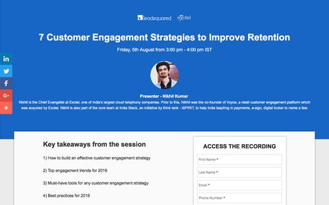 Screenshot of Landing Page leadsquared.com - [Webinar Recording] 7 Customer Engagement Strategies to Improve Retention - captured Sept. 6, 2016