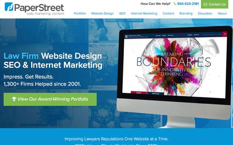Screenshot of Home Page paperstreet.com - Law Firm Website Design, Attorney SEO, Lawyer Internet Marketing - PaperStreet - captured April 8, 2018