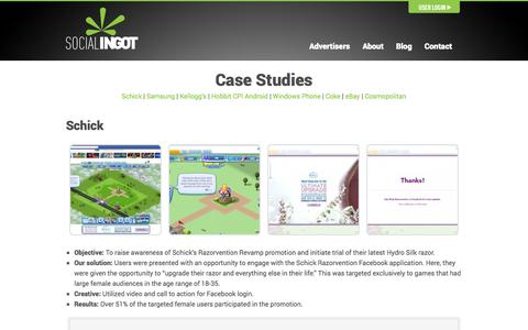 Screenshot of Case Studies Page socialingot.com - Case Studies | Social Ingot, Inc. - captured Oct. 26, 2014