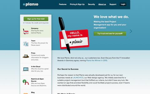 Screenshot of About Page plan.io - Company | Planio - captured Sept. 18, 2014