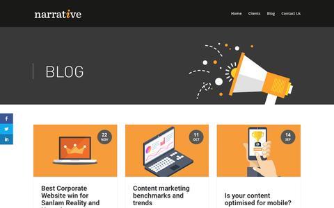 Screenshot of Blog narrativemedia.co.za - Narrative Media   Our blog - captured Nov. 28, 2016