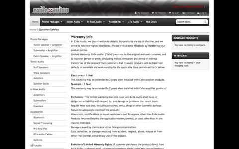 Screenshot of Contact Page Support Page Terms Page exileaudio.com - Customer Service - captured Feb. 16, 2018