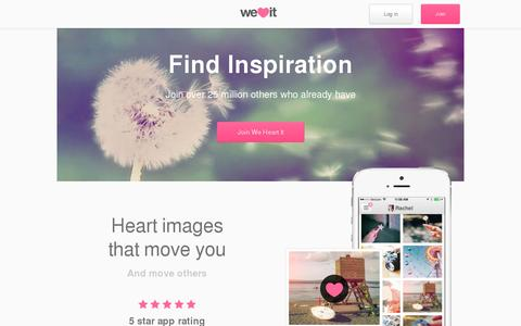 Screenshot of Home Page weheartit.com - We Heart It - captured July 12, 2014
