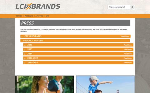 Screenshot of Press Page lcibrands.com - Press - captured Oct. 1, 2016