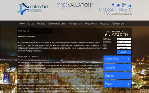 Screenshot of About Page columbiaestates.je - About Us | Columbia Estates; No.1 Estate Agents in Jersey - captured Jan. 30, 2016