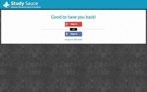 Screenshot of Login Page studysauce.com - User account | Study Sauce - captured Oct. 9, 2014