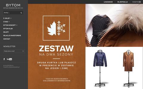 Screenshot of Home Page bytom.com.pl - BYTOM - Współcześni Mężczyźni - captured Sept. 23, 2014