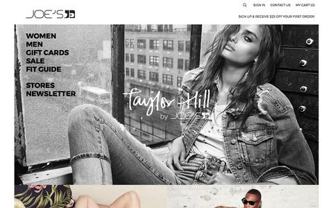 Screenshot of Home Page joesjeans.com - JOE'S® Jeans Official Site | Premium Designer Jeans - captured Aug. 19, 2017