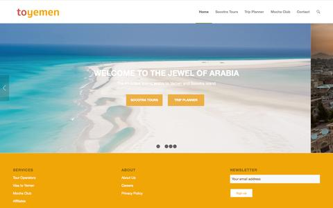 Screenshot of Home Page toyemen.com - toyemen | Jewel of Arabia - captured Aug. 15, 2015