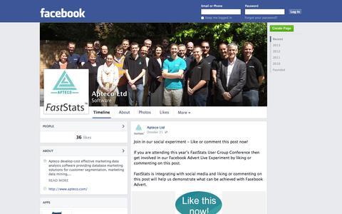 Screenshot of Facebook Page facebook.com - Apteco Ltd | Facebook - captured Nov. 2, 2014