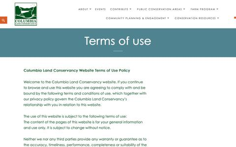 Screenshot of Terms Page clctrust.org - Terms of use – Columbia Land Conservancy - captured Sept. 29, 2018